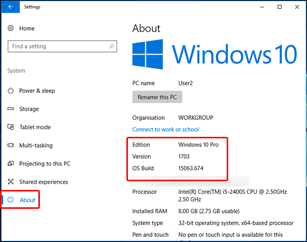 Controlla il numero di build di Windows