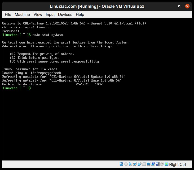 Avviato Microsoft CBL-Mariner Linux